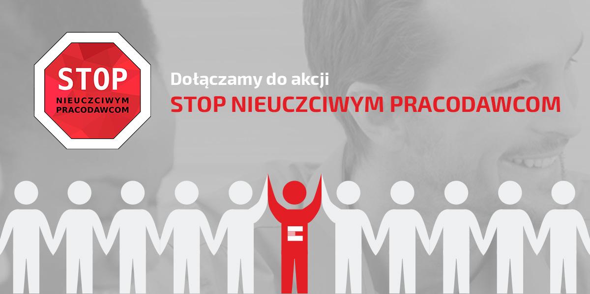 Baner STOP NIEUCZCIWYM PRACODAWCOM